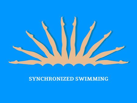 Synchroonzwemmen. Groepsprestatie van gesynchroniseerde zwemmers. Illustratie van een vlakke stijl