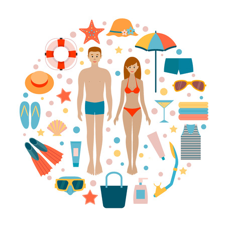 Set beach accessories. Man and woman on the beach. Summer, sea. Style flat
