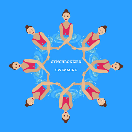 Synchronized swimming. Speech athletes, synchronized swimmers. Flat style.