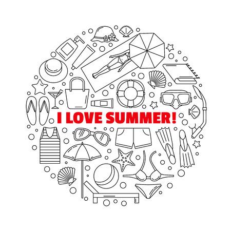Het ronde embleem rond het thema zomer-, zee- en strandvakantie. Strandaccessoires. Gemaakt in een lineaire stijl.