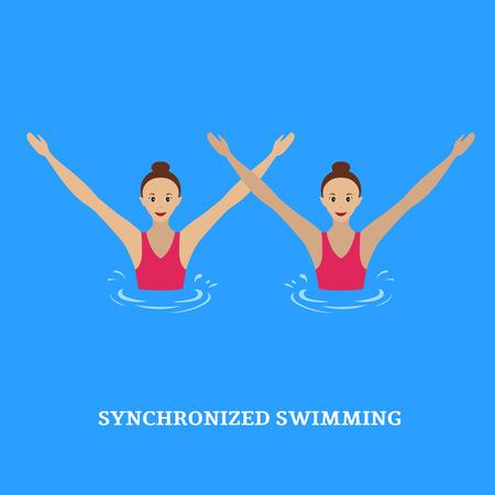 Synchroon zwemmen. Gepaarde optredens gesynchroniseerde zwemmers. Illustratie van een vlakke stijl.