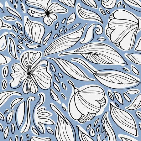 ector illustratie. Lineaire naadloze bloemmotief. Hand tekenen planten.