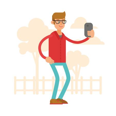 Vector illustratie. Een man neemt foto's van zichzelf. Selfy. Een stripfiguur. Stijl plat.