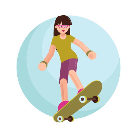 Vector illustration. The skater. Flat style.