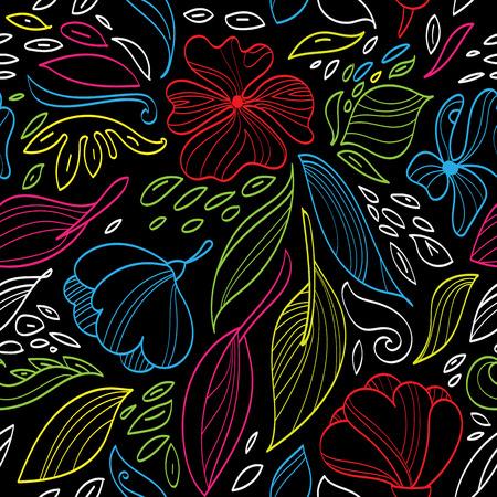Vector illustratie Lineaire naadloze bloemmotief. Hand tekenen planten.