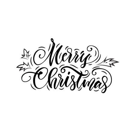 Vector illustratie Wenskaart. Vrolijk kerstfeest. Kalligrafie. Belettering.