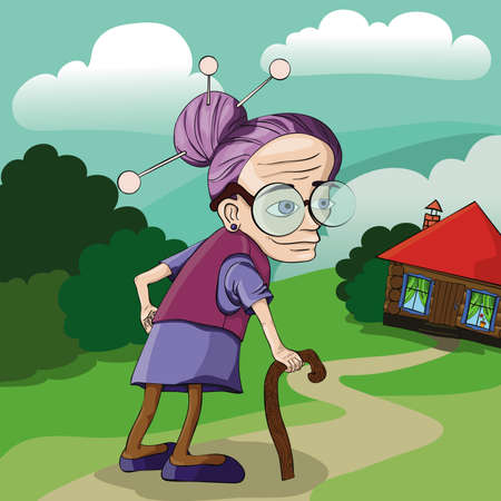 hoary: Grandmother on the lawn near the house with red roof. Stock Photo