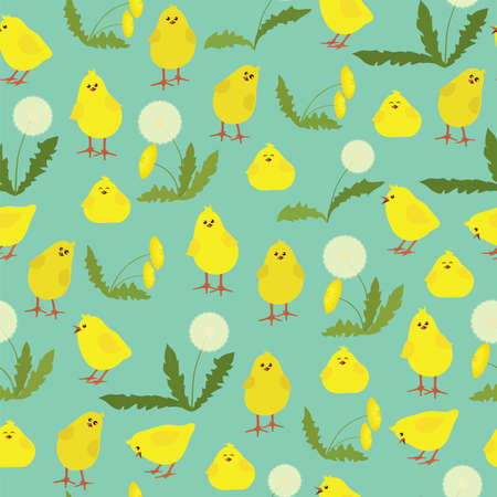 hatchling: Seamless pattern with funny chickens and dandelions on a blue background. Illustration