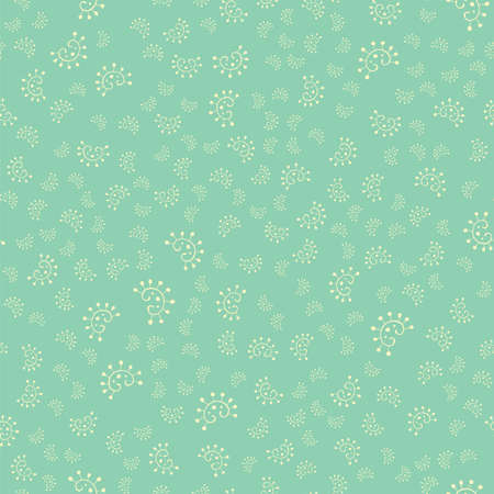 Seamless pattern with hand drawn abstract floral elements on a blue background for wallpaper or fabric.