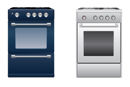 gas stove:  two modern kitchen gas stove Illustration