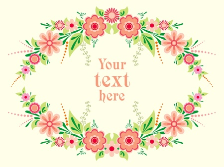 Colorful floral frame with decorative flowers in folk style Vector