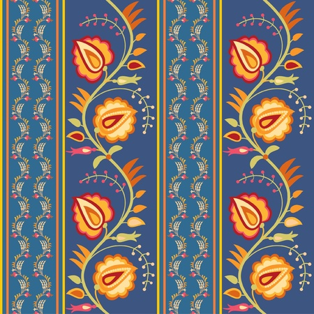 Bright floral seamless ornament with flowers in folk style Vector