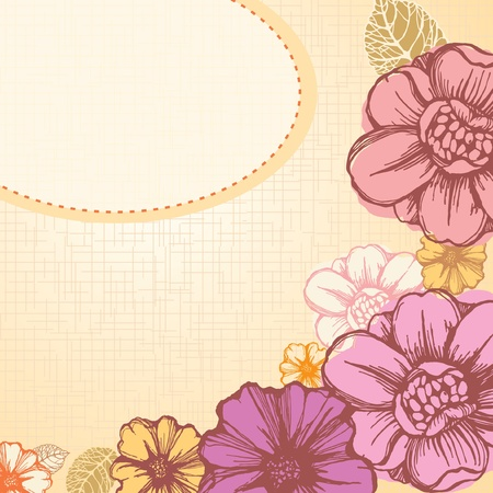 Romantic floral background; card with decorative flowers Illustration