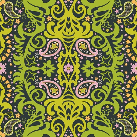 Oriental paisley ornament; decorative seamless floral pattern Vector