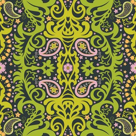 floral pattern motif: Oriental paisley ornament; decorative seamless floral pattern