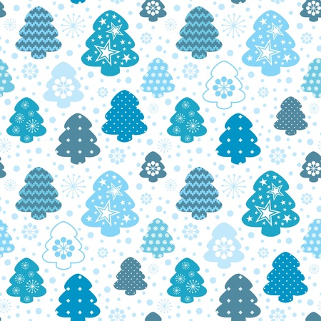Winter decorative seamless christmas tree and snowflake background Stock Vector - 11356812