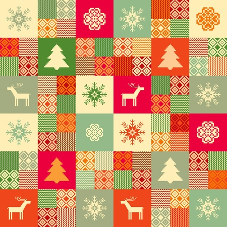 Colorful seamless patchwork style background christmas traditional motifs