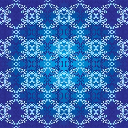 Ornamental seamless background classic style in blue Vector