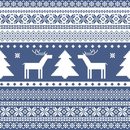Seamless Knitted Ornamental Pattern Traditional Christmas Motifs