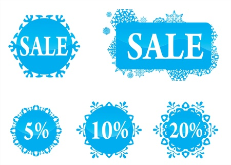 Winter christas new year sale labels set Vector