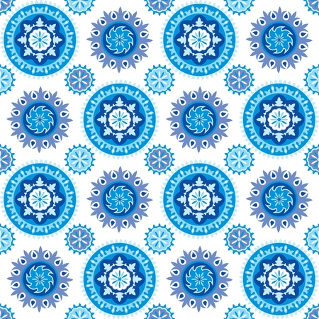 Blue and white seamless background with decorative snowflakes
