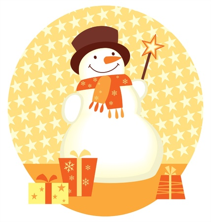 Snowman and gift box template for christmas design Vector