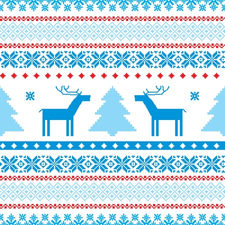 Traditional christmas knitted ornamental background with deer and tree Vector