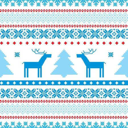 fair isle: Tradizionale maglia natale sfondo ornamentale con cervi e albero