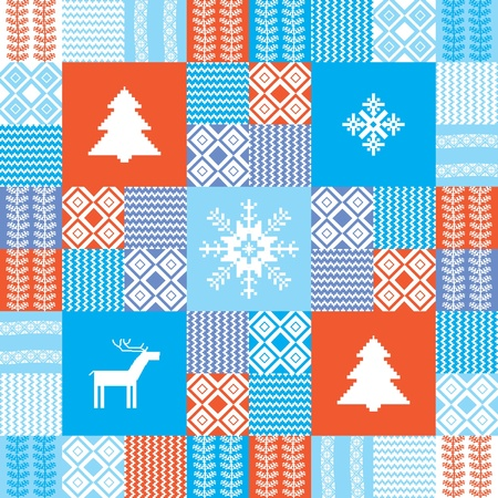 Colorful seamless patchwork style background christmas traditional motifs Vector