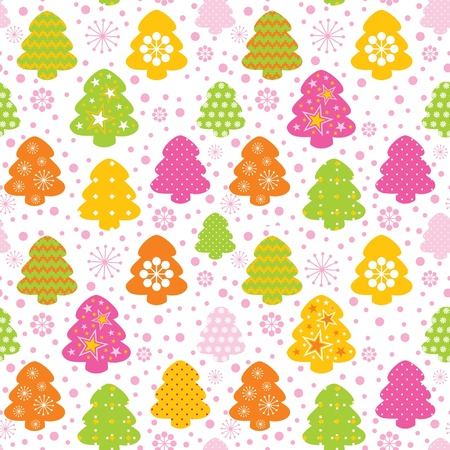 Colorful decorative seamless background christmas tree and snowflake  Vector