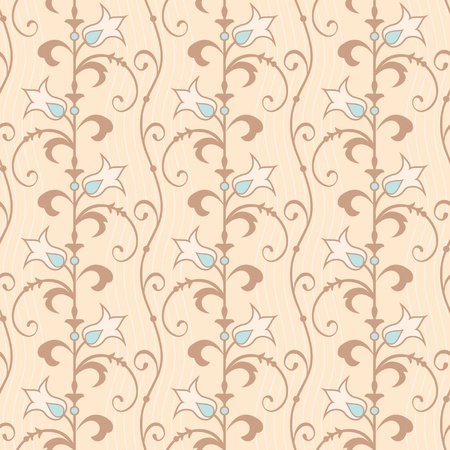 Floral seamless wallpaper decorative flowers in beige and brown