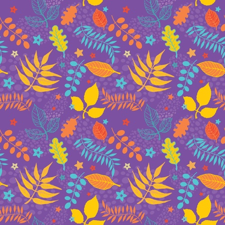 Colorful floral seamless texture decorative leaves and flowers Stock Vector - 11356766