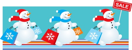 Winter sale banner three snowmen with shopping bag Vector