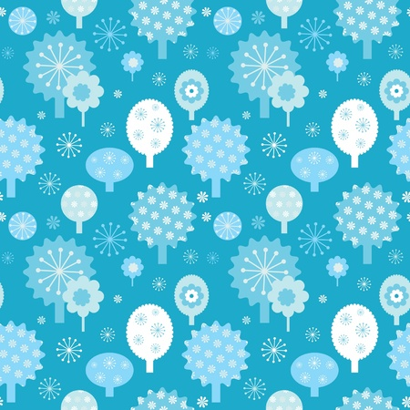 Winter forest seamless texture with decorative trees and snowflakes  Vector