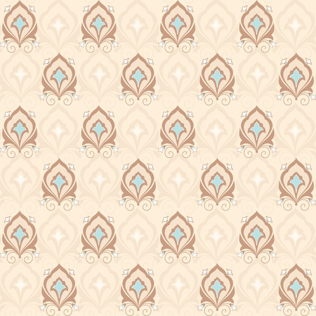 Vintage classic asian damask ornamental seamless wallpaper Vector