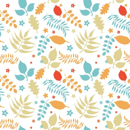 contrast floral: Colorful floral seamless pattern decorative leaves at white background Illustration
