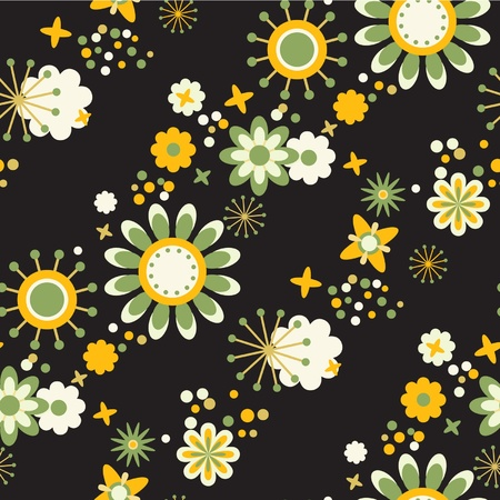 seamless floral wallpaper flowers at black background Stock Vector - 11663011