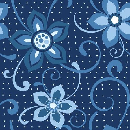 スクラップブッキング: 暗い青色の背景でシームレスな花柄の花