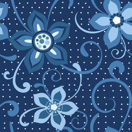 Seamless floral pattern flowers at dark blue background Vector