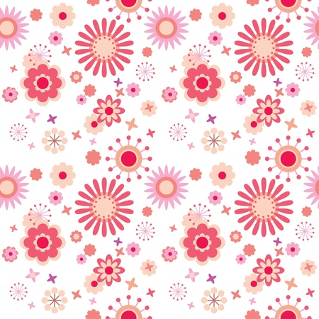 flower art: Seamless floral pattern with bright flowers at white background