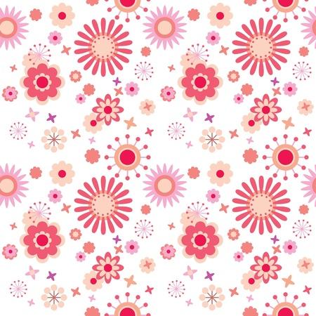 stylized design: Seamless pattern floreale con fiori luminosi a sfondo bianco Vettoriali