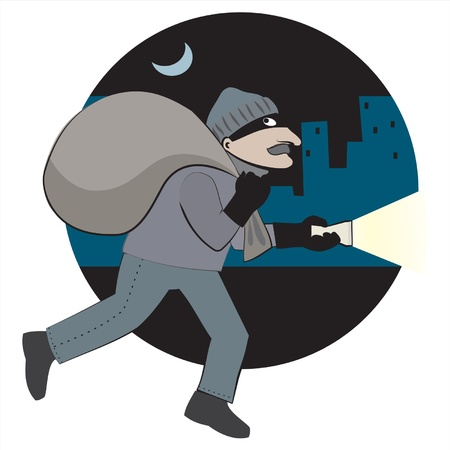 Thief with loot runs through the city