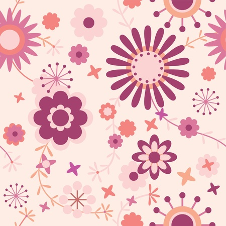 seamless floral pattern in pink, vinous and red   Vector