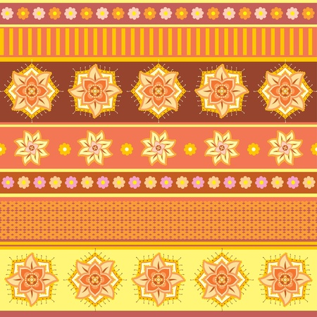 Bright ethnic ornament with stripes and decorative flowers Vector