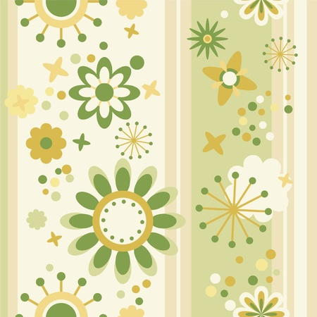 floral seamless striped wallpaper in green and yellow Vector