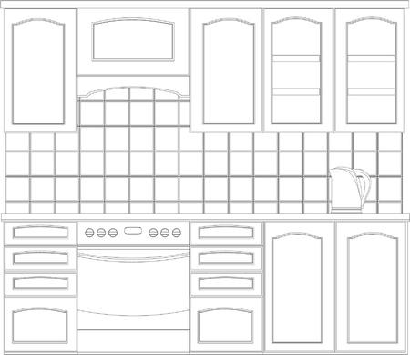 wnętrze z meblami kuchennymi w czarno-biały