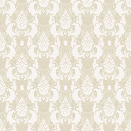 Damask floral seamless pattern in beige, vector