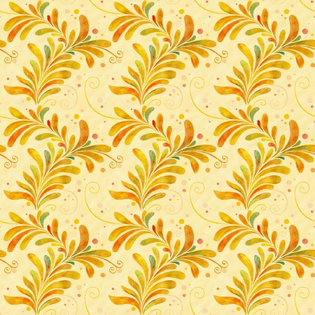seamless floral ornament with leaves in folk style photo