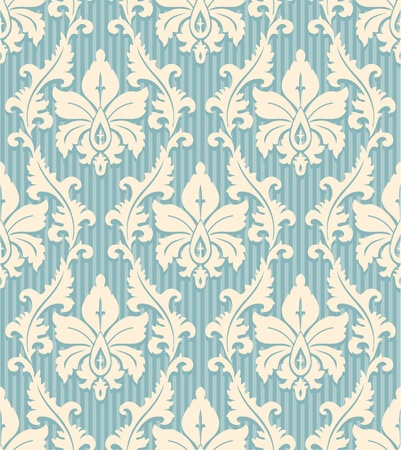 pale: Floral wallpaper pattern light yellow ornament and blue striped background Illustration
