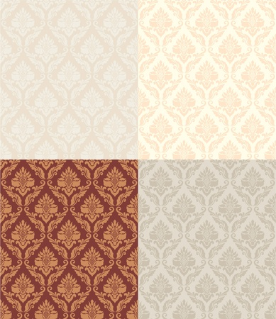 Collection of classic seamless floral pattern in beige and brown Vetores